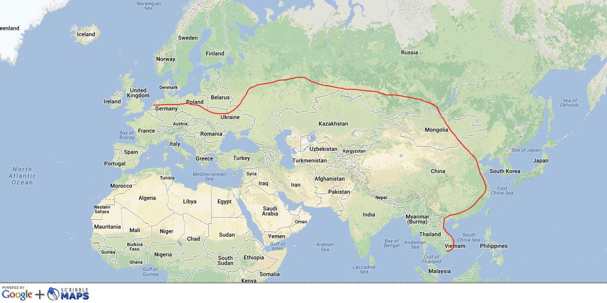 Rail trip map