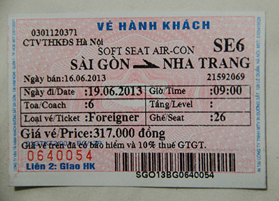 Train ticket Saigon to Nha Trang